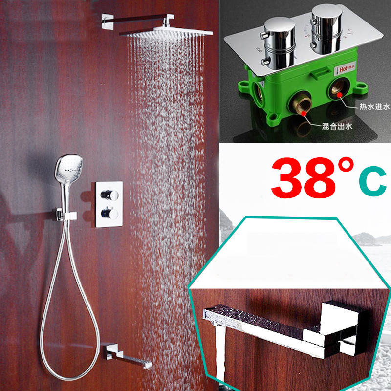 Bathroom Shower Faucet Brass Embedded Thermostatic control switch mixing valve taps Concealed Tub three function Shower