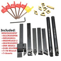 Hot Sale 21pcs 10mm Boring Bar Lathe Turning Tool Holder with Gold Inserts with 7pcs T8 Wrenches
