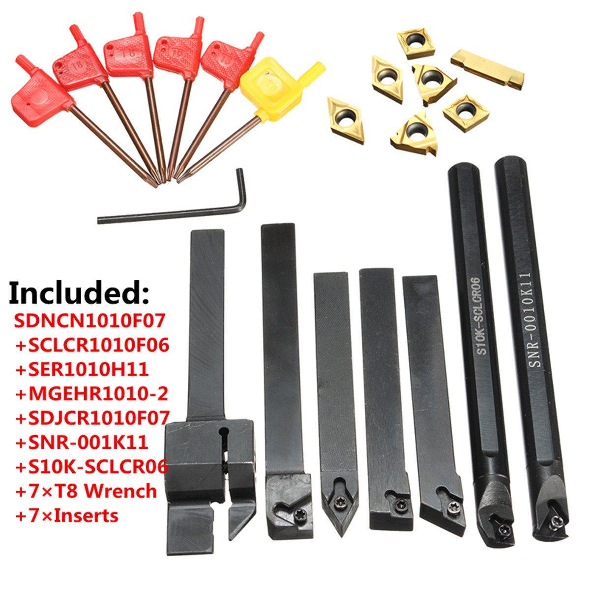 Venta caliente 7 unids 10mm barra aburrida torno de inflexión de la herramienta del sostenedor con oro plaquitas con 7 unids T8 llaves