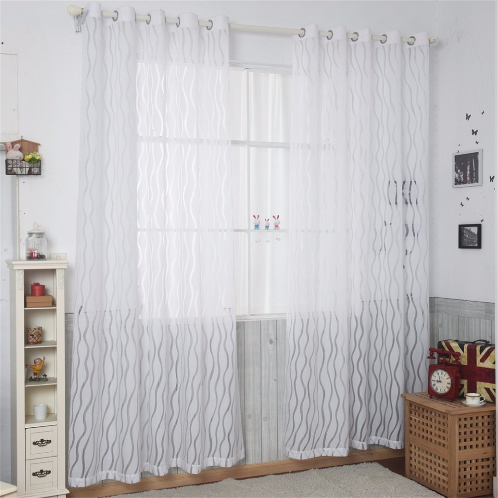 American style yarn curtains Solid color Pinch Pleated Sheer curtain ...