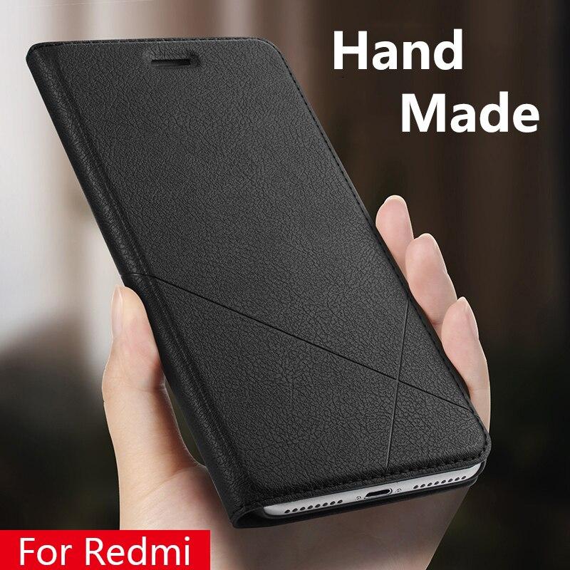 Hand Made For Xiaomi Redmi note 7 6 5 4x 5a Redmi 5 Plus 6a 6 Pro Y1 3s 4 pro 4a 5a Leather Case PU Flip Cover Card Slot monochrome