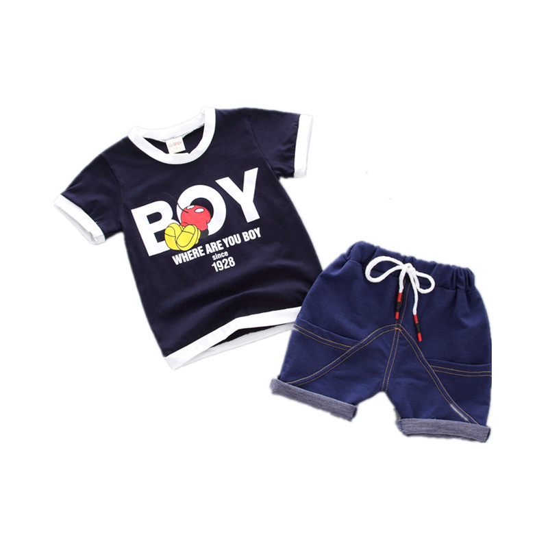 2018 New Fashion Summer Children Boy Girl Clothes Sets Kids 2pcs Cotton Letter Short Sleeves T-Shirt Toddler Child Clothing Suit