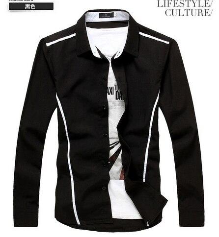 21d60694c0592f 2015 The Latest Design Spring&Autumn Fashion Casual Stripe Leisure Men's  Shirt Male Long Sleeve Plus Size Colour:Black White
