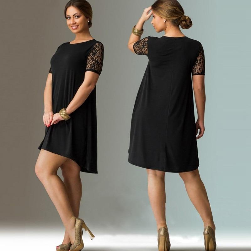 Plus Size Women Clothing New Elegant Women Dress 2018 Lace Sleeve Mini 5XL 6XL Summer Dress Black Loose Casual Dress Vestidos