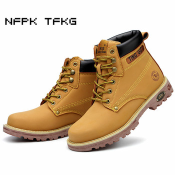large size mens fashion steel toe caps work safety shoes anti-puncture genuine leather tooling security ankle boots protection