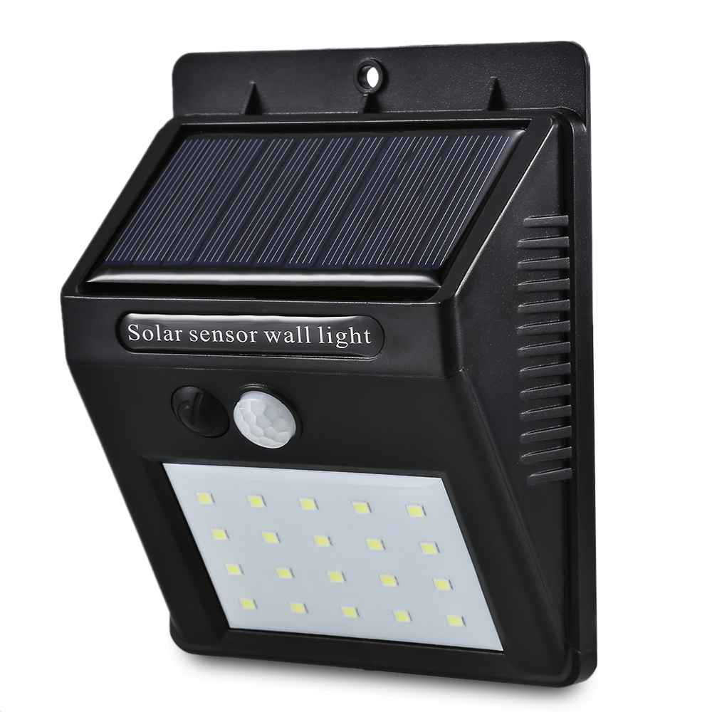 20 LEDs Solar Motion Sensor Wall Light IP65 Waterproof for Outdoors Garden Patio Yard Garage