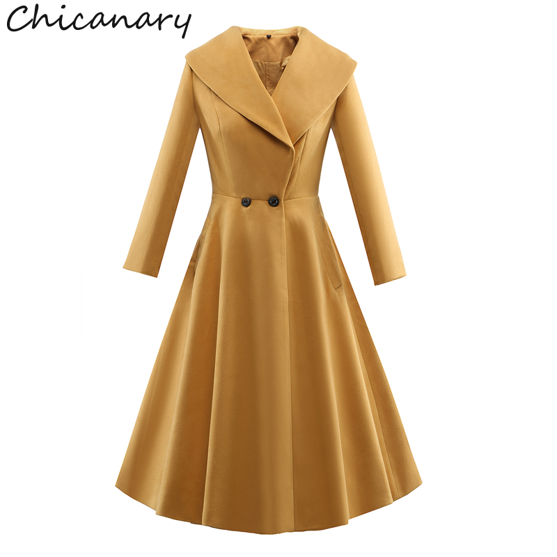 Chicanary 2017 New Double Breasted Turn Down Collar Long Sleeve Trench Coat Women Wool Coat Outerwear