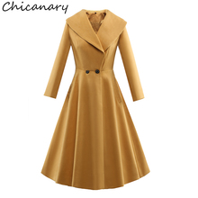 Chicanary 2017 New Double Breasted Turn Down Collar Long Sleeve Trench Coat Women Wool Coat Outerwear Plus Size 3XL