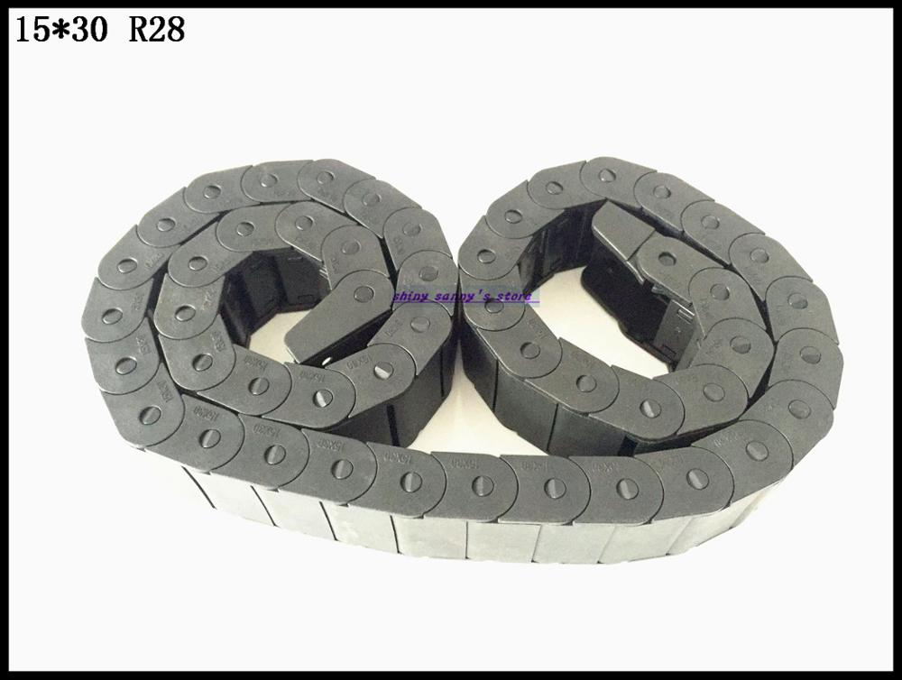 1pcs 15x30mm R28 Cable Drag Chain Wire Carrier with End Connector 15mm x 30mm L1000mm 40 for 3D CNC Router Machine Brand New 15mm x 40mm r28 plastic cable drag chain wire carrier with end connector length 1m for 3d printer cnc router machine tools