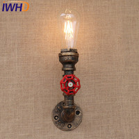 IWHD American Loft Industrual Iron Rust Water Pipe Retro Wall Lamp Vintage E27 Sconce Light Steampunk Hose Lighting Fixtures