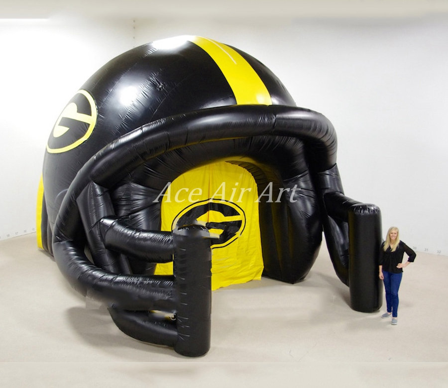 Prix usine gonflable tunnel de football casque arc, gonflable casque arc