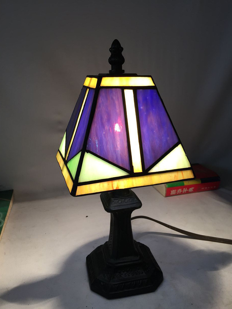 Factory Price Tiffany Lamps Art Deco Purple Stained Glass Small