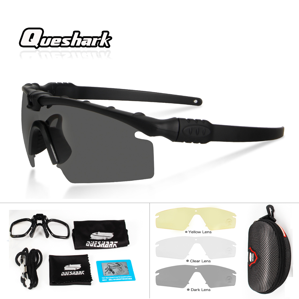 Queshark Professional Military Polarized Cycling Glasses M Tactical Goggles TR90 Frame Army Airsoft Shooting Protection EyewearQueshark Professional Military Polarized Cycling Glasses M Tactical Goggles TR90 Frame Army Airsoft Shooting Protection Eyewear
