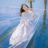 3538 One Word Led Off The Shoulder Bohemia Female Water Soluble Lace Dress Irregular Holiday Dress