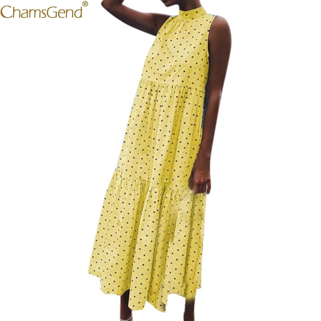 Dot Print  Loose summer dresses women 2019  plus size dresses woman party night Holiday BeachSleeveless Beach Mar