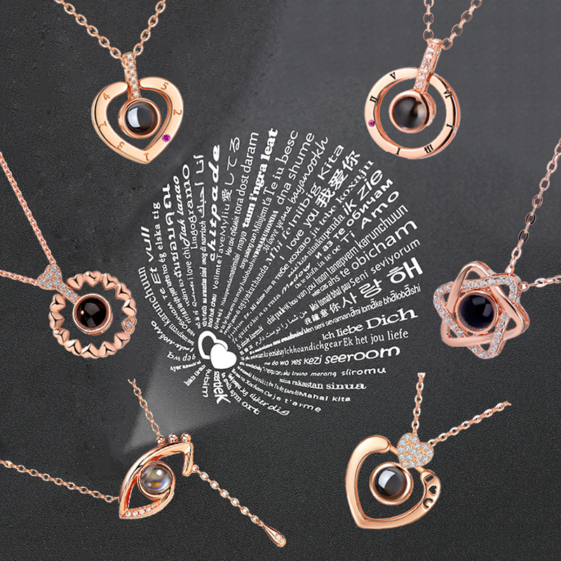 Necklace Romantic Memory Projection Pendant Rose-Gold Wedding Silver 100-Languages Love-You