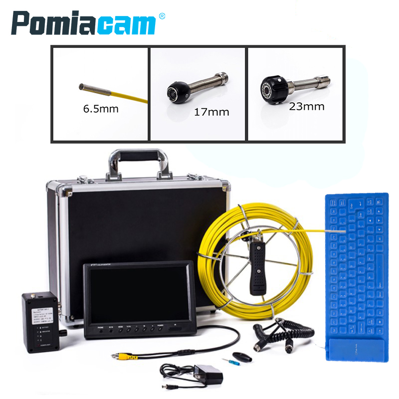 WP91 50M Pipe Pipeline Inspection Camera, Drain sewer Industrial Endoscope Snake Video System with 9 Inch LCD Monitor dhl free wp90 50m industrial pipeline endoscope 6 5 17 23mm snake video camera 9 lcd sewer drain pipe inspection camera system