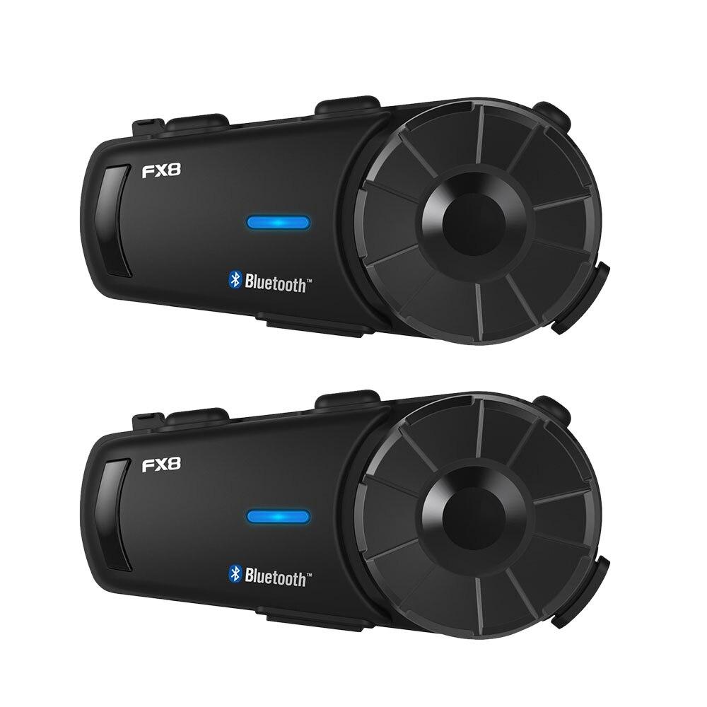Fodsports 2 pçs fx8 capacete intercomunicador da motocicleta bluetooth fone de ouvido 8 cavaleiro 1000m moto interfone fm
