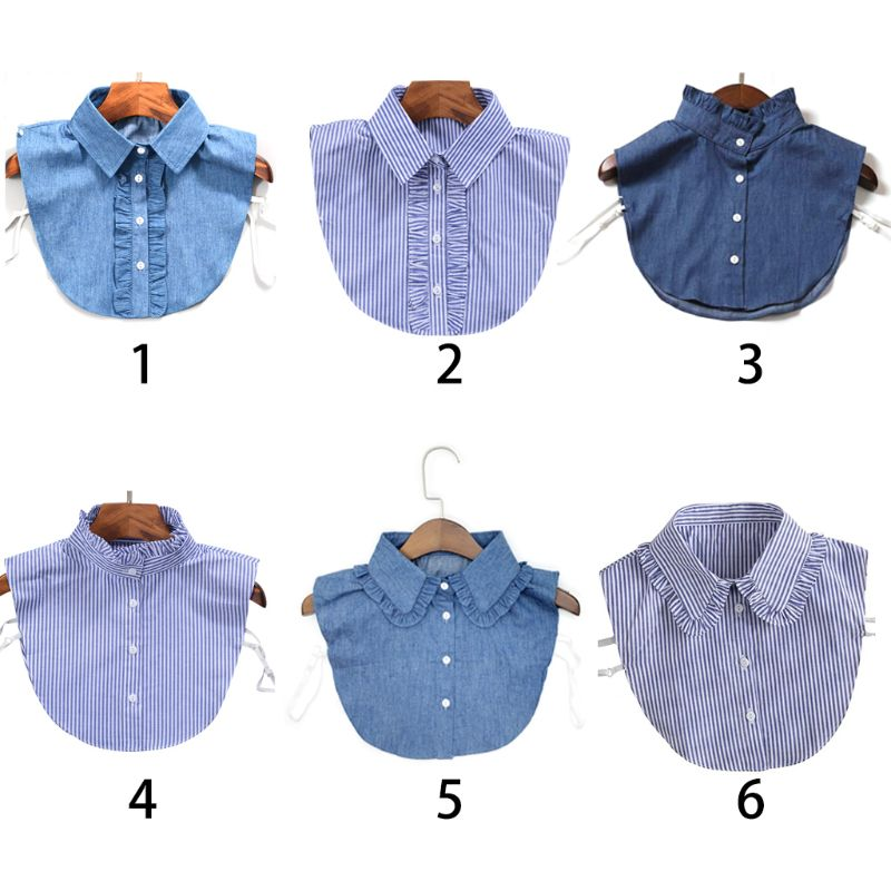Women New Fashion Stripe Denim Lace Collar Shirt Fake Collar Tie Vintage Detachable Collar False Collar Lapel Blouse Top