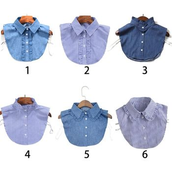 Women New Fashion Stripe Denim Lace Collar Shirt Fake Tie Vintage Detachable False Lapel Blouse Top
