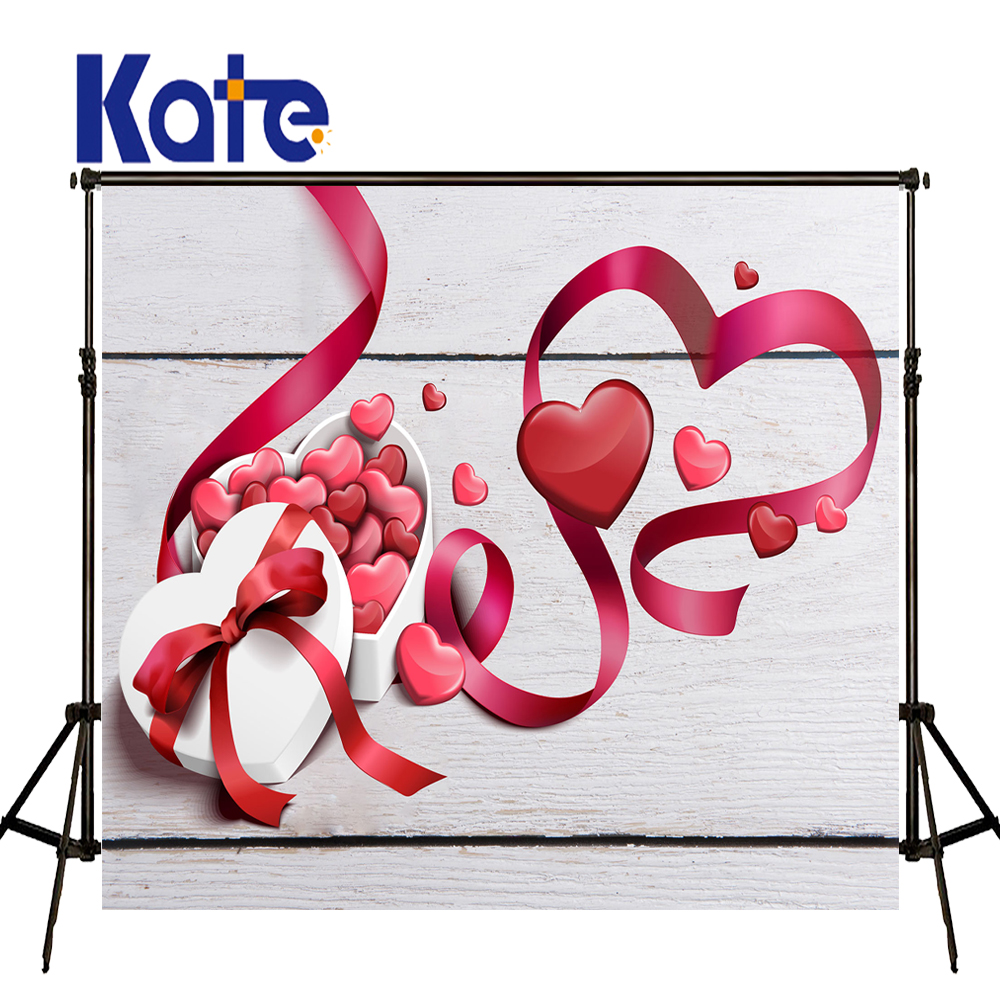 KATE Valentine's Day Gift Box Backdrops Photo Background Vintage White Wooden Wall Backdrop Red Silk Ribbon Backdrops for Studio шкатулки trousselier музыкальная шкатулка wooden box жираф
