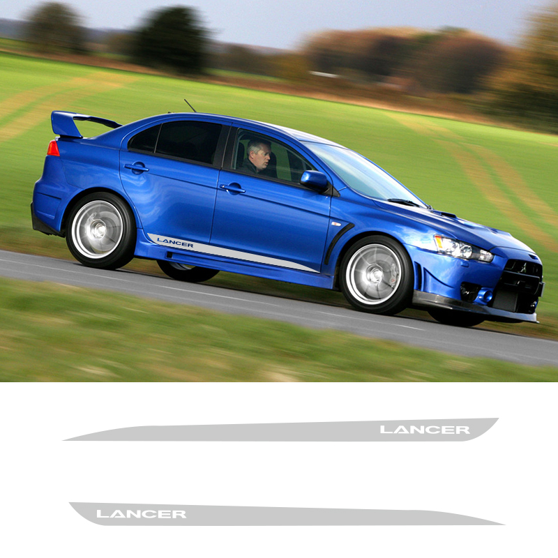 2 PCS Vinyl Side Stripes Skirt Graphics Auto Sticker Vehicle Decal For Mitsubishi Lancer GT Car Styling in Car Stickers from Automobiles Motorcycles