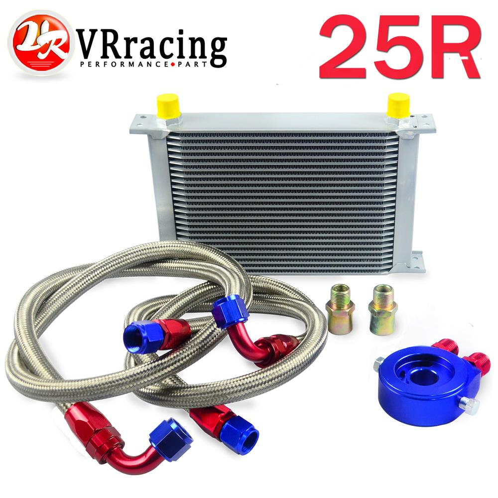 VR RACING - AN10 OIL COOLER KIT 25ROWS TRANSMISSION OIL COOLER SILVER+OIL FILTER ADAPTER BLUE+STAINLESS STEEL BRAIDED HOSE pqy racing an10 oil cooler kit 30rwos transmission oil cooler silver oil filter adapter blue stainless steel braided hose