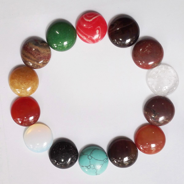 Wholesale 30pcs/Lot Nature stone beads CAB Cabochon mixed round Beads size 16x16mm Free shipping
