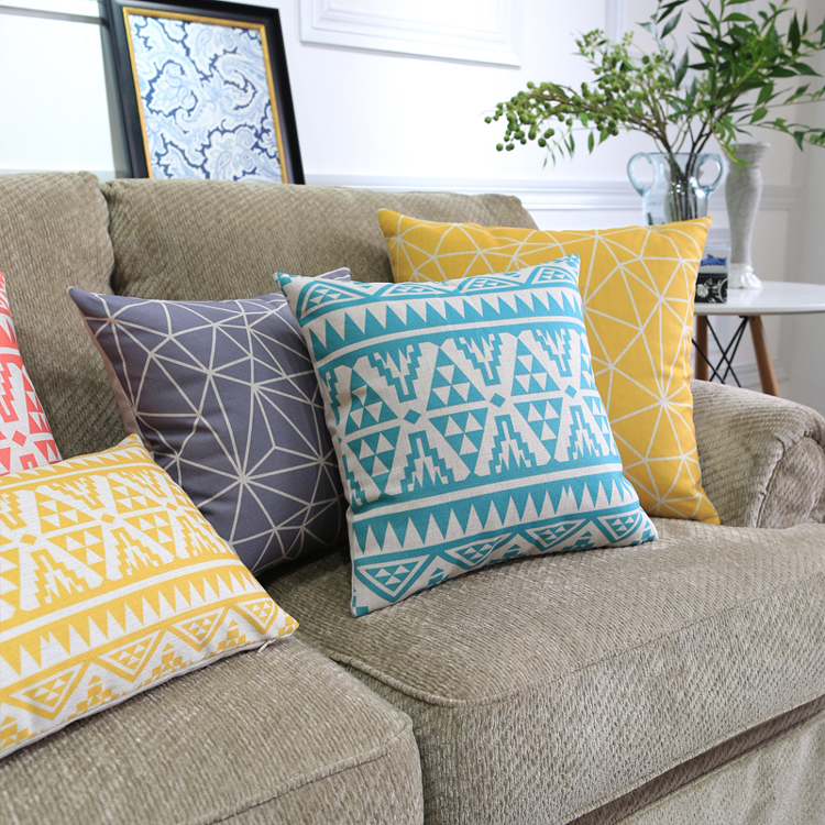 Colorful Pillows For Sofa: Geometric Rug Style Cushion Covers Bohemian Triangles