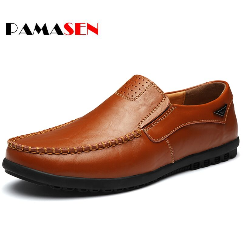 Pamasen Designer Men Casual Shoes Autumn Flats Fashion Slip On Driving Shoes Moccasins Leather Shoes Loafers Chaussure Homme split leather dot men casual shoes moccasins soft bottom brand designer footwear flats loafers comfortable driving shoes rmc 395