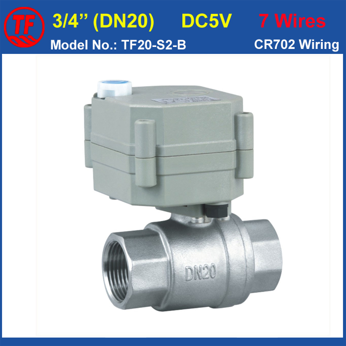 Electric Water Valve TF20-S2-B Stainless Steel 3/4'' (DN20) Full Port With Manual Override DC5V 7Wires CE/IP67 High Quality tf20 s2 c high quality electric shut off valve dc12v 2 wire 3 4 full bore stainless steel 304 electric water valve metal gear