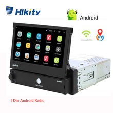 Hikity Android 8.1 Autoradio rétractable GPS Wifi Autoradio 1 Din 7 ''écran tactile voiture multimédia MP5 lecteur Support caméra(China)