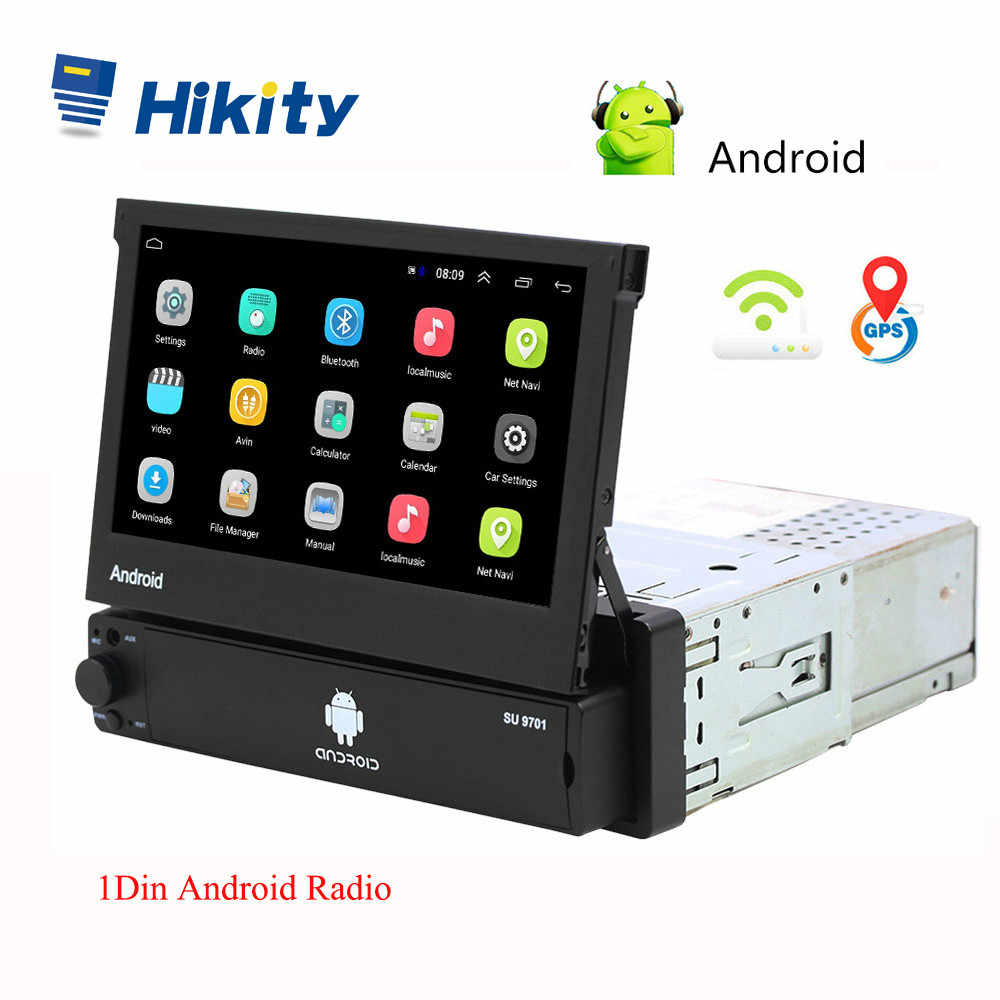 Hikity Android 8.1 araba radyo geri çekilebilir GPS Wifi Autoradio 1 Din 7 ''dokunmatik ekran araba multimedya MP5 oynatıcı desteği kamera