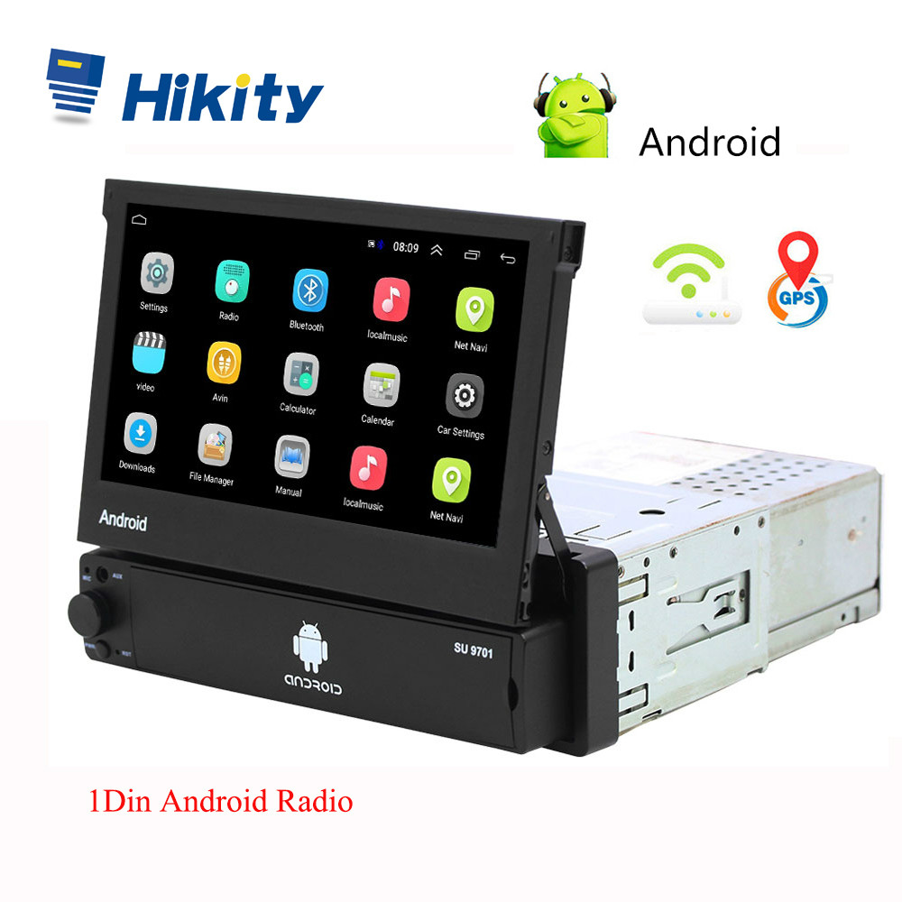 Hikity Android 8.1 Car Radio Retractable GPS Wifi Autoradio 1 Din 7'' Touch Screen Car Multimedia MP5 Player Support Camera image