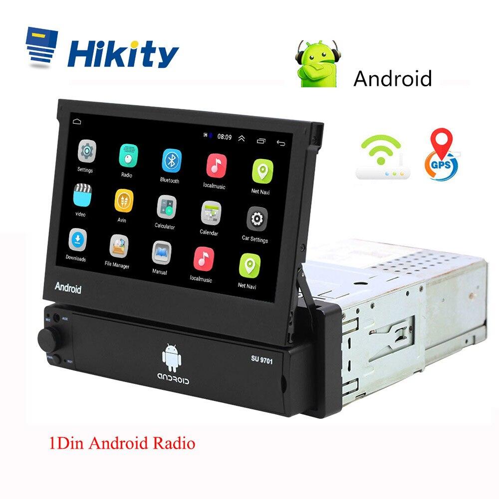 Hikity Android 8.1 Autoradio rétractable GPS Wifi Autoradio 1 Din 7 ''écran tactile voiture multimédia MP5 lecteur Support caméra