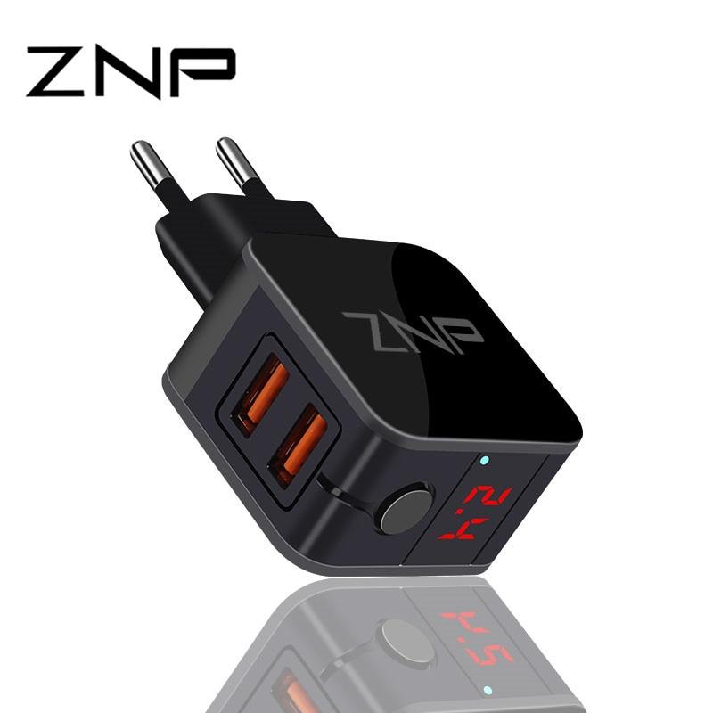 ZNP LED Light EU USB 2 Port Charger 2.4As