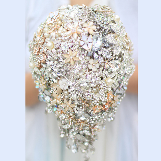 Bride Drop Brooch Bouquet Custom Made Wedding Ivory Gold Jewelry S Bridal Bouquets
