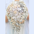 Novia Caída Broche ramo de La Boda por encargo de Marfil y Oro Teardrop Joyería nupcial de la novia ramos de Novia con flores decoración