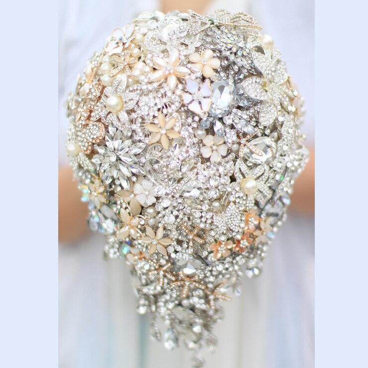 Bouquet Sposa A Goccia.Sposa Goccia Spilla Bouquet Da Sposa Custom Made Ivory Gold
