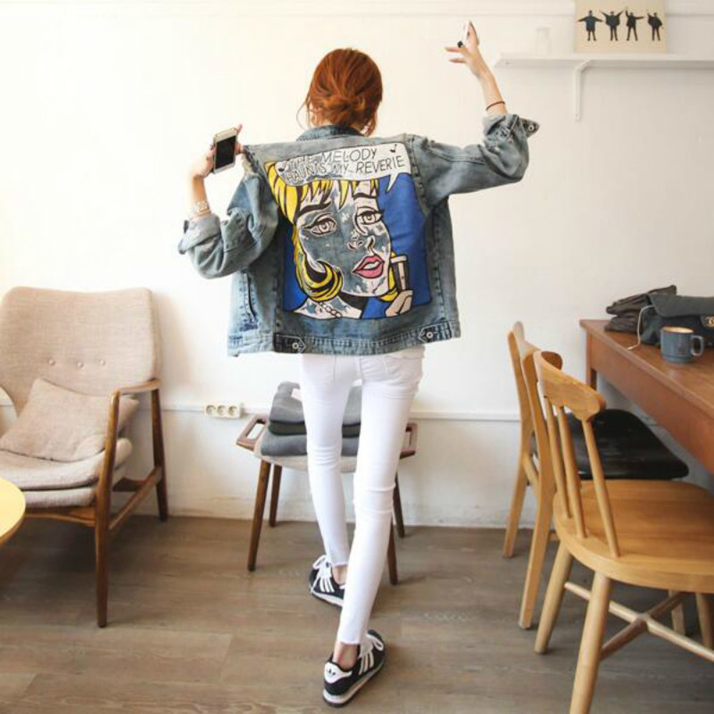 Spring Autumn   Basic     Jackets   Women Funny Print DenimJacket Women Ripped Hole Long Sleeve Bomber   Jackets
