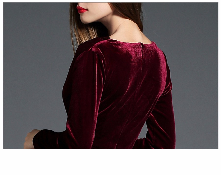 17 Autumn Winter Evening Party Dresses Red Velvet Dress Women Sexy High Split Long Maxi Dresses Christmas Runway Vestido Longo 26