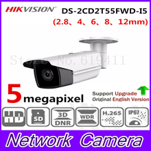New Released HiK H.265 5MP Network Bullet Camera DS-2CD2T55FWD-I5 English Version HD IP Camera Built-in SD Card slot 50m IR IP67