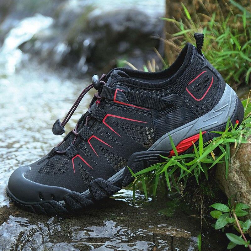 Été hommes Aqua Sport chaussure respirant en plein air hommes sandales noir gris foncé homme plage eau chaussures anti-dérapant randonnée Trekking chaussures