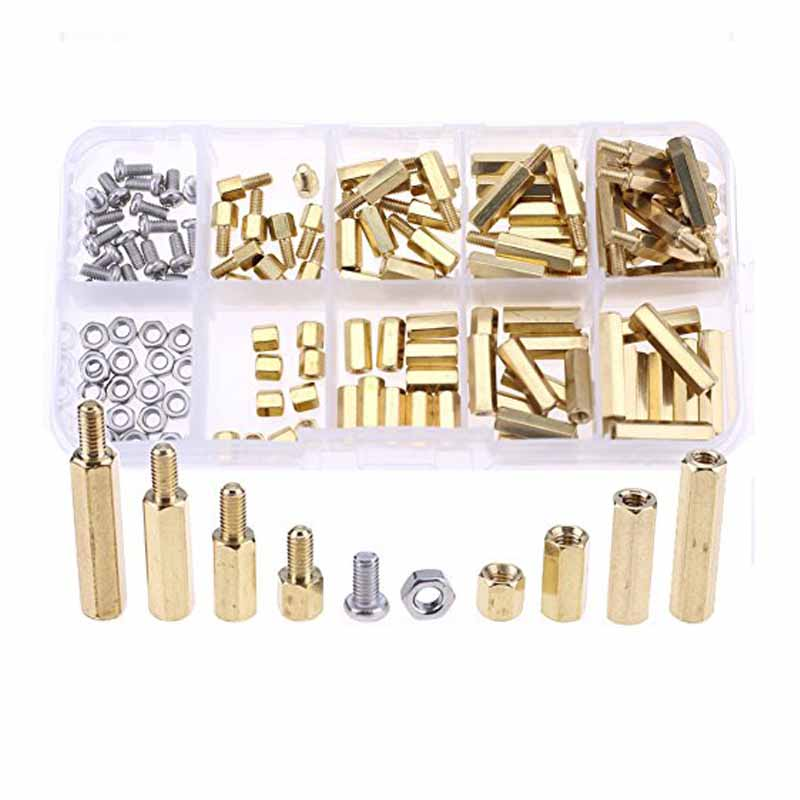 120pcs M3 Brass Spacers Hex Screw Nuts Fasteners Assortment Set Threaded Stand-off Accessory Stainless Steel Nut & Screws Kit