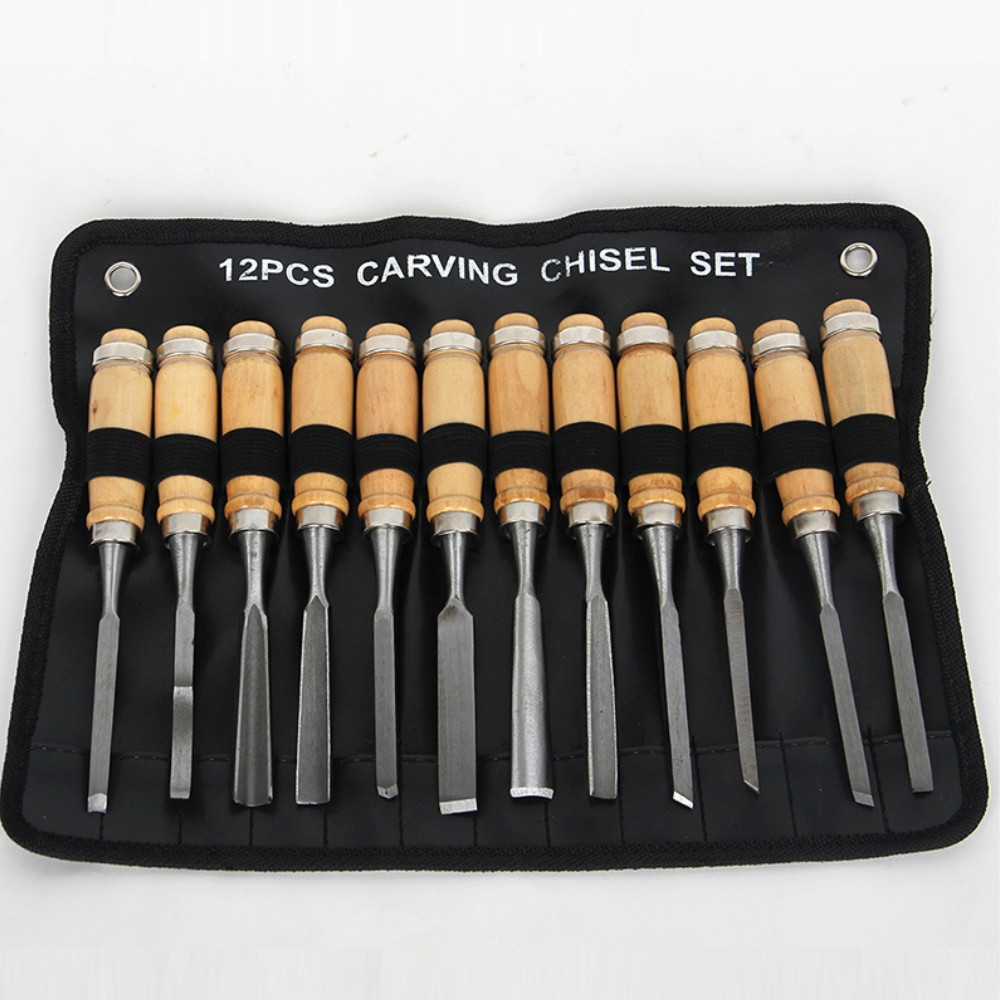 12 Pieces Woodworking DIY Carving Chisel Handle Tools Set Wooden Professional  3pcs set stainless steel carving chisel wax carving tools set