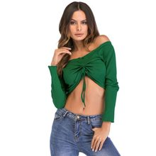 21e502c59d4 Women Sexy Crop Top Ruched T-Shirt Off Shoulder Strapless Ruffle Long  Sleeve Shirt Short Tops New Fashion female clothes