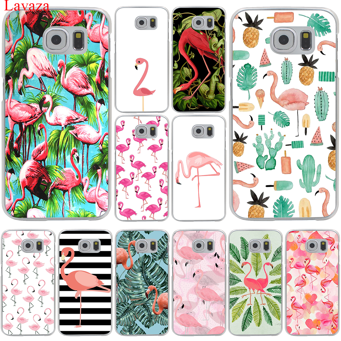 Lips Flamingo Flamingos Themed Pool Party Hard Transparent for Samsung Galaxy S6 S7 S8 Edge Plus S5 S4 S3 & Mini Case Cover