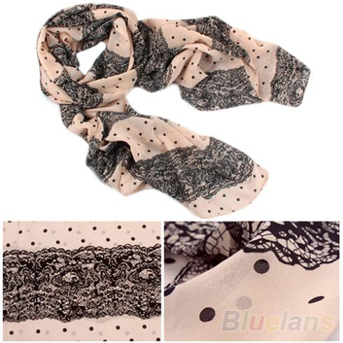 2016 Top QualityNEW Stylish Girl Long Soft Silk Chiffon Scarf Stripe Polka Dot Shawl font b