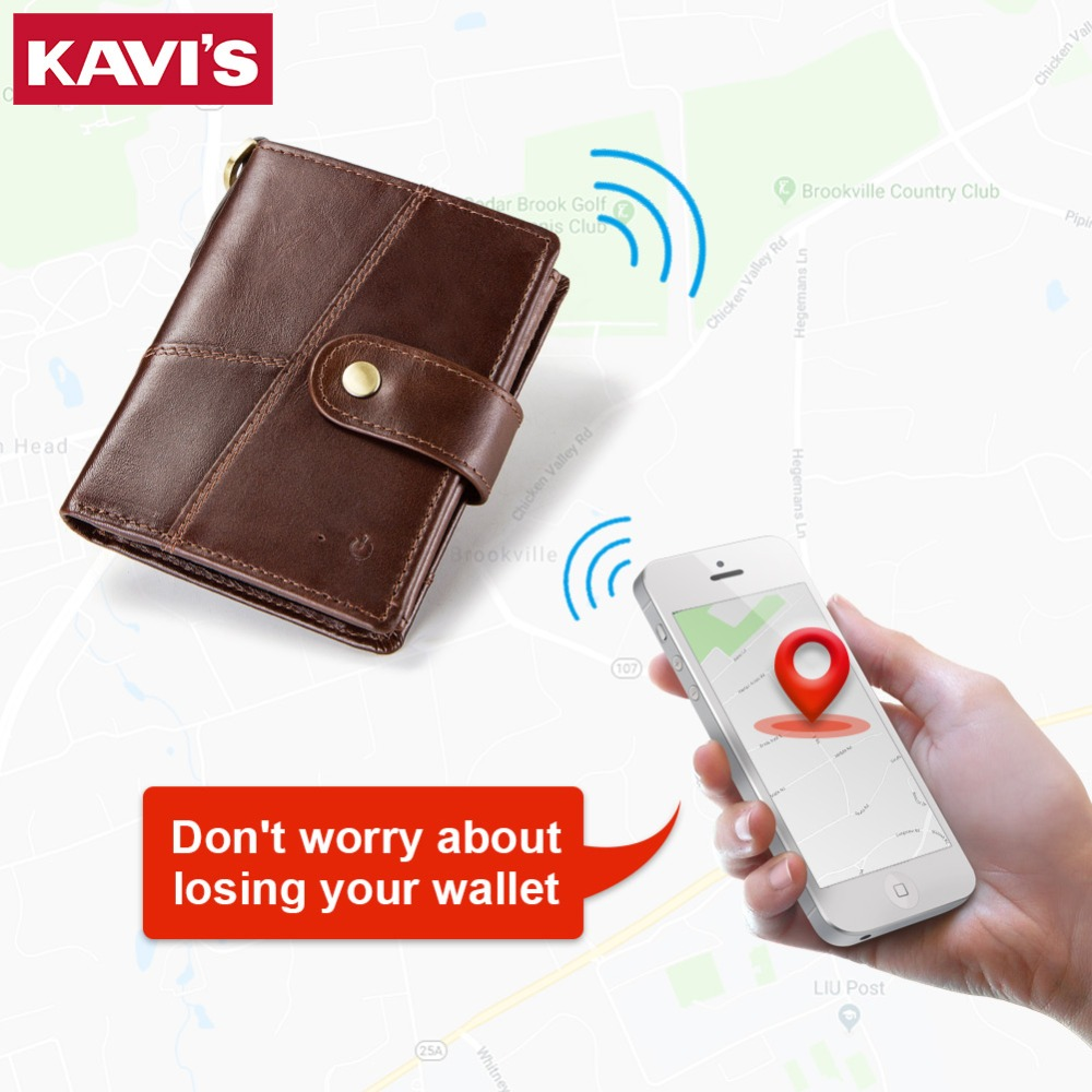 KAVIS Smart Wallet Anti Lost Intelligent Men Wallets Genuine Leather Hasp Design High capacity Trifold Male Walet Card Holders KAVIS Smart Wallet Anti Lost Intelligent Men Wallets Genuine Leather Hasp Design High capacity Trifold Male Walet Card Holders