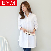 EYM Brand Women Blouses Long Shirts 2017 New Fashion Solid Color 100 Cotton Casual White Shirt